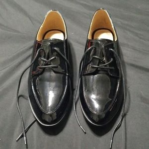 Faux Patent Leather Oxfords
